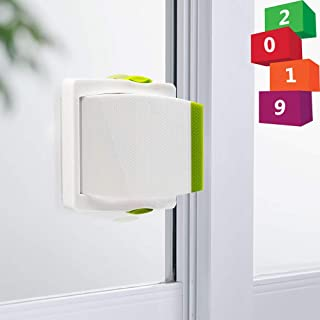 [4 Pack] Sliding Door Lock, Childproof Safety Lock for Sliding Closet Cupboard Bathroom Kitchen Doors Windows by Kelamayi (White & Green)