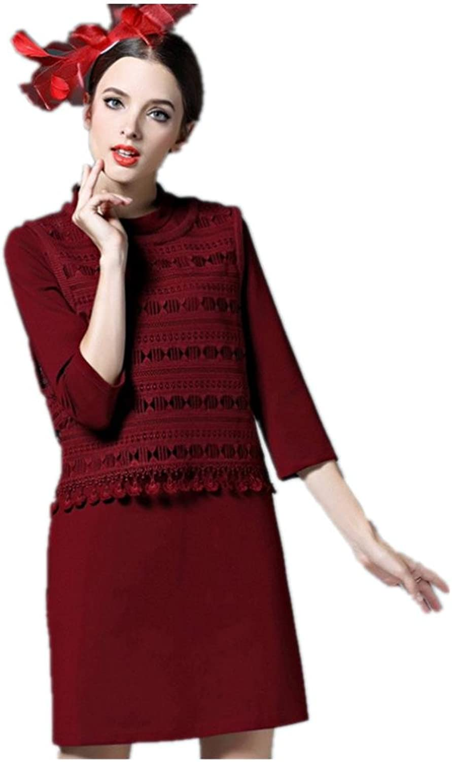 Fashion Spring and Autumn New Onepiece Dress , wine red , xl