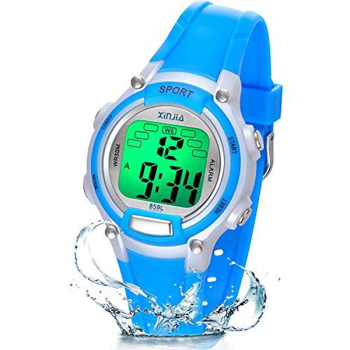 Reloj Niño Niña Digital,7 Colores 50M Impermeables Relojes de Pulsera Infantil,Relojes Deportivos de Pulsera Multifuncionales para Exteriores con Cronómetro/Alarma para Niños 5-15 años (Azul)
