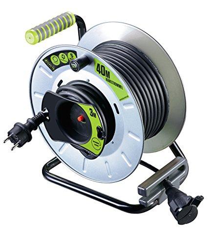 Masterplug Pro-XT Metall Reverse-Kabeltrommel mit einer wetterfesten Schukoverlängerung, 40 + 3 Meter Gummikabel