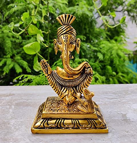 Lord Ganesha met muis Beeldje voor Home tempel mandir – Ganesh Standbeeld voor Ganesh Chaturthi – Hindu God Indian pooja…