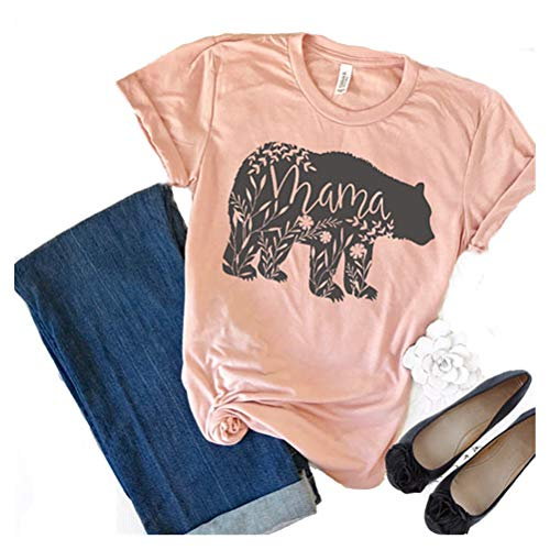 Women's Floral Mama Bear Print Crew Neck Short Sleeve T Shirts for Mom Mother's Gift Pink