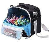Togood, borsa contenitore per pennarelli, penne, pennelli, matite, libri da colorare, articoli per arte e artigianato, attrezzi, cosmetici, fino a 130 penne Black