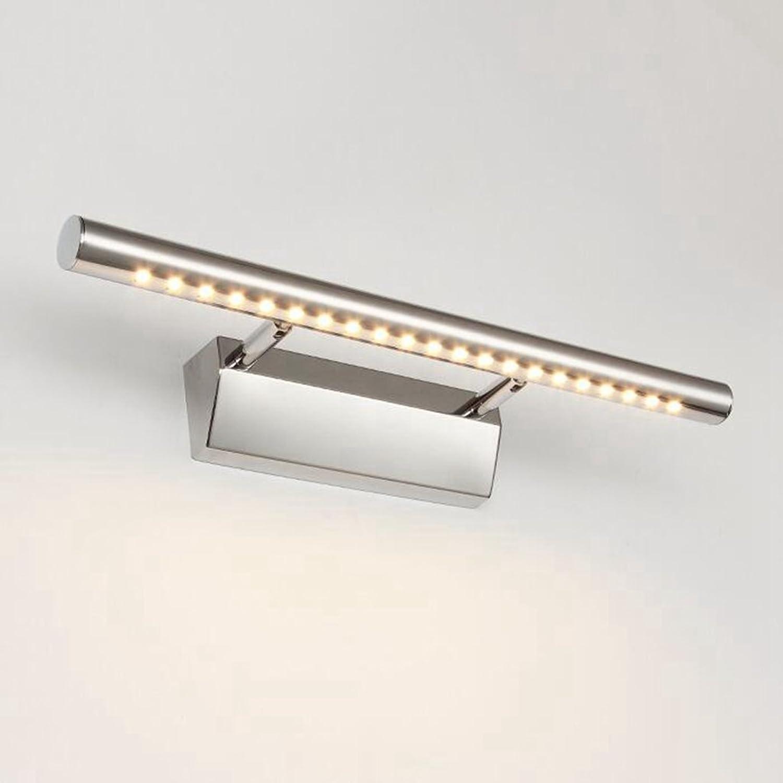 HMer LED Spiegelleuchte Schranklampe Drehbar 180 ° 30 Spiegel Scheinwerfer modern Edelstahl wasserdicht Anti-Fog Badezimmerleuchten Bad Spiegelleuchten Bad Wandleuchte warmwei 55CM 7W