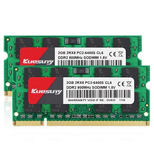 Kuesuny 4GB Kit (2x2GB) PC2 6400 2Rx8 PC2-6400S CL6 DDR2 SOD