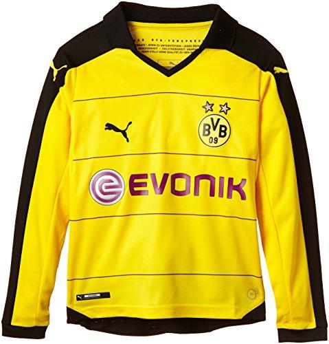 PUMA Kinder Trikot BVB Long Sleeve Home Replica Shirt with Sponsor, Cyber Yellow, Black, 176