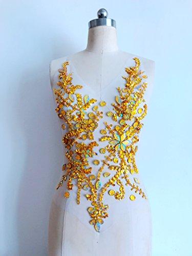 Pure hand gemaakte kristallen patches Naai op strass Applique Knit Trim 50 x 30 cm jurk Accessoire Goud