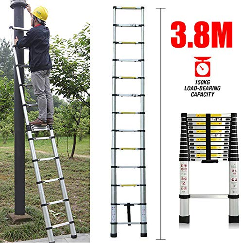 Telescoping Ladder 3.8M 12ft Aluminum Multi Purpose Telescopic Extension Ladder Adjustable(330 pound/150 kg,EN131 ) for Clean Decorate Party Replace The Bulb