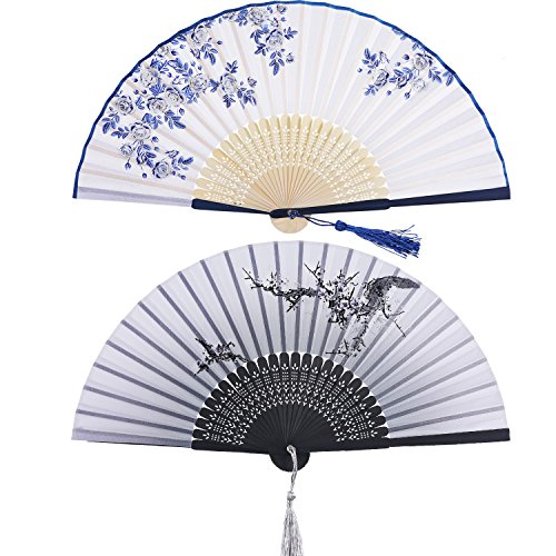 2 Piezas Abanicos Plegables Portátil Abanicos de Mano de Bambú con Borlas Abanicos de Bambú de Hueco de Mujeres para Decoración de Pared, Regalos (Patrón de Rosa Azul y Cerezo Negro)