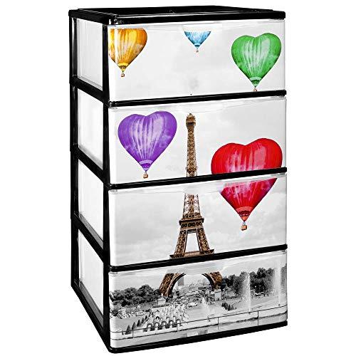 COM-FORT HOUSE Cajonera Apilable Plastico - Modelo Iris - Modelo de 4 Cajones con Decorado Paris (380 x370 x626mm)