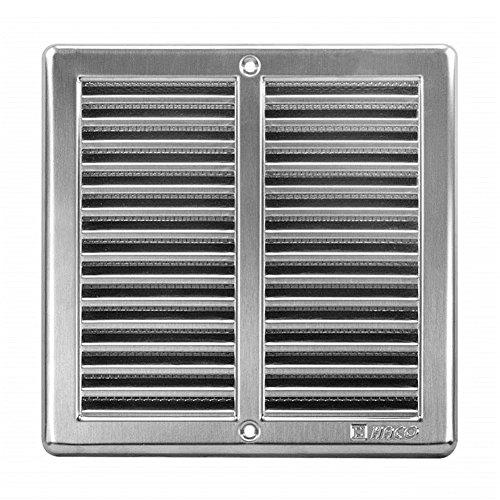 Griglia di ventilazione in acciaio inox da 200 x 200 mm, con zanzariera e cornice