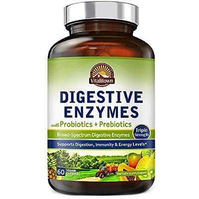 Vitalitown Digestive Enzymes Plus Probiotics & Prebiotics | Kosher Friendly, Vegan, No Gluten | Amylase, Lactase, Lipase, Papain | Boost Digestion Immunity | Non-GMO, No Yeast, Low Carbs | 60 Caps