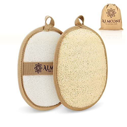 Premium Exfoliating Loofah Pad Body Scrubber, Made with Natural Egyptian Shower loofa Sponge That Gets You Clean, Not Just Spreading Soap (2 Pack)