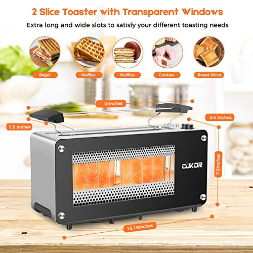 2-Slice Long Slot Toaster with Window, CUKOR Bagel Toaster with Warm Rack and 7 Bread Shade Settings, Glass Toaster with Automatic Lifting, Removable Crumb Tray and Slide-out Glass Panel
