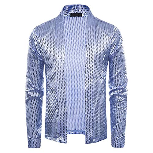NLZQ Men's Long Sleeve Sequins Open Front Cardigan Sequins Clubwear Coat Jacket for Party Dinner Wedding Nightclub Mens Casual Turn Down Collar Solid Color Loose Sweatshirt Tops M