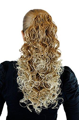 Postiche, tresse, mélange de blond, 40cm, boucles volumineuses, attache par pince-16T88 6046
