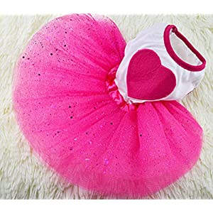 Idepet Spring Summer Pet Dog Cat Puppy Tutu Princess Dress Heart Printed Lace Skirt Clothes Pet Apparel