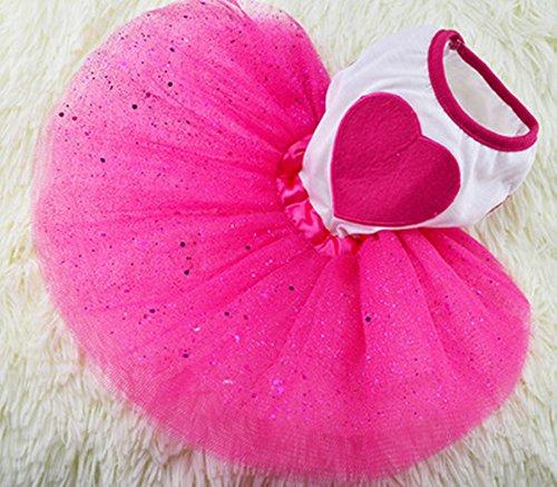 Idepet Spring Summer Pet Dog Cat Puppy Tutu Princess Dress Heart Printed Lace Skirt Pet Apparel (XXL)