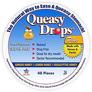 Three Lollies Queasy Drops Plus with Real Honey Dry Mouth and Nausea Relief