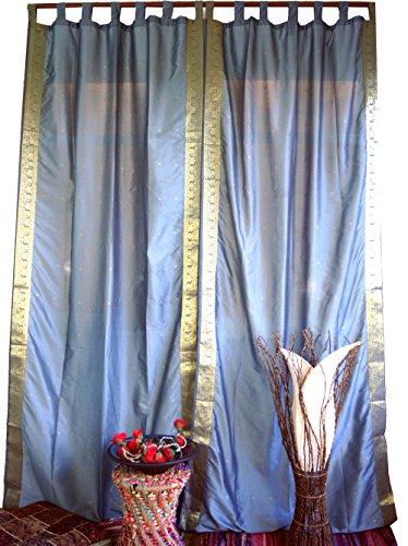 Guru-Shop Gordijn, Gordijn (1 Paar Gordijnen, Gordijnen) Gemaakt van Sari-doek - Grijs, Synthetisch, Lengte: 290 cm, Gordijnen en Draperieën