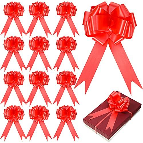 WILLBOND 36 Pezzi 6 Pollici Fiocchi da Tirare a Nastro Fiocchi di Matrimonio Fiorista per Natale Festa di Nozze Compleanno Auto Regali di Festa Decorazione di Borse Cestini Bottiglie (Rosso)