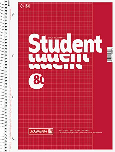 Brunnen 1067926 Notizblock / Collegeblock Student (A4, kariert, Lineatur 26, 70 g/m², 80 Blatt) 5 Stück