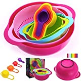 Xtore® 10 PCS Kitchen Bowl Set Versitile Nested Mixing Bowls with Handles, Including Container, Colander, Sieve and Measuring Cups, Assorted Colors | Premium Quality
