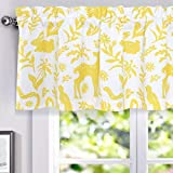 DriftAway Elina Rustic Woodland Animal Lined Thermal Insulated Energy Saving Window Curtain Valance for Kids Room Nursery Bedroom 2 Layers Rod Pocket 52 Inch by 18 Inch Plus 2 Inch Header Yellow