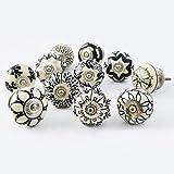 Ajuny Juego de 10 pomos de cerámica, color blanco y negro, para cocina, tiradores de...