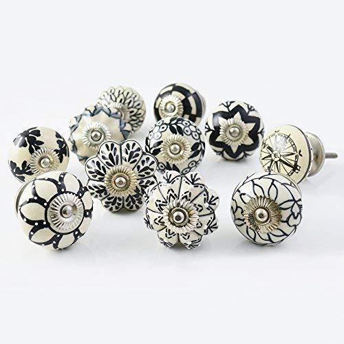 Ajuny Juego de 10 pomos de cerámica, color negro y blanco, para cocina, extractores de cajones, pintados a mano