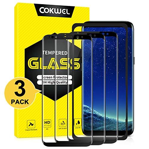 COKWEL [3 Pezzi] Pellicola Protettiva Compatibile con Samsung Galaxy S8, Vetro Temperato [Installazione Facile Cornice di Allineamento] [Copertura Completa] [Compatibile con la Custodia] [Senza Bolle]