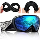 JK MOTION Chrome Ski Goggles-Anti Fog Snow Goggles-100% UV Protection,Goggles Ski/Snowboard Goggles...