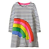 HILEELANG Toddler Girl Dress Stripe Long Sleeve Autumn Winter Cotton Basic Dress 1-7 Year