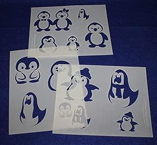 Cartoon Themed Penguin Stencils - 3 piece set - 8 x 10 inches