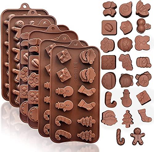 6 stampi per cioccolatini e cioccolatini, per Natale, per decorazioni natalizie