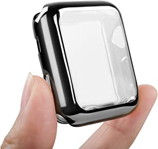 top4cus Environmental Anti-Resistant Soft TPU Lightweight 42mm Iwatch Case All-Around Protective Screen Protector Compatible Apple Watch Series 4 Series 3 Series 2 - Black