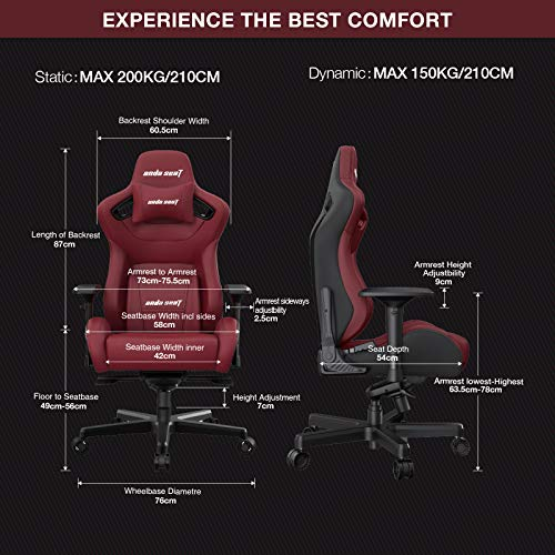 Anda Seat Kaiser 2 Gaming Chairs, Ergonomic XL Computer Office Chair with 4D Adjustable PU Armrest,160°PVC Leather Swivel Rocker Video Game Chairs with Headrest Lumbar Pillow for Home Adult-Red