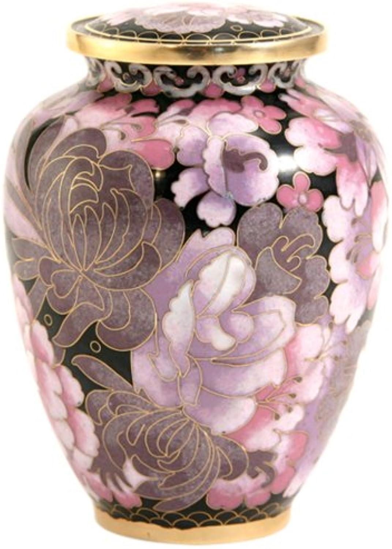 Near & Dear Pet Memorials Elite Cloisonné Floral bluesh Pet Cremation Urn, 50 Cubic Inch, Pink
