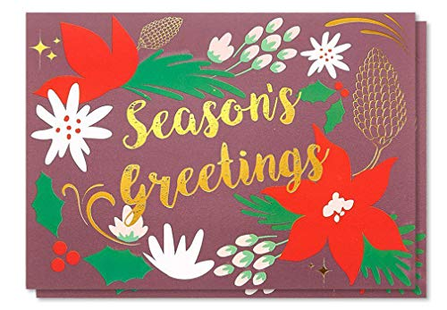 48-Pack Merry Christmas Greeting Cards Bulk Box Set - Winter Holiday Xmas Greeting Cards in Fancy Design with Gold Foil Accents, Envelopes Included, 4 x 6 Inches