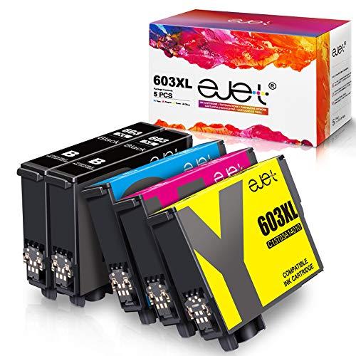 ejet 5 Pack 603XL Druckerpatronen Ersatz für Epson 603 XL Tintenpatronen für Epson Expression Home XP-3100 XP-2100 XP-4100 XP-4105 XP-2105 XP-3105 Workforce WF-2830 WF-2850 WF-2810 WF-2835 (5er Pack)