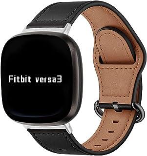 KangPlus Compatible avec Fitbit Sense/Fitbit Versa 3, bracelet de rechange en cuir souple réglable avec boucle en métal po...