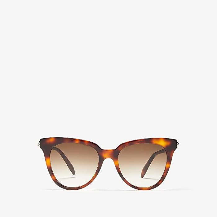 Alexander McQueen  AM0159S (Shiny Medium Havana/Brown Gradient) Fashion Sunglasses