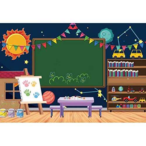 DaShan 6.5x5ft Polyester Teacher Classroom Backdrop for Online Teaching Chalkboard Back to School First Day of School Photography Background Online Course Educational Study School Youube Photo Props