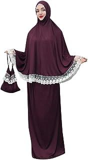 Sandwind Muslim Fashion Cloak Style Women Long Dress Robes For Prayer Loose Flowy Solid Lace Long Bat Sleeve Middle East Jilbab Kaftan Abaya Ramadan Outside - Multicolor