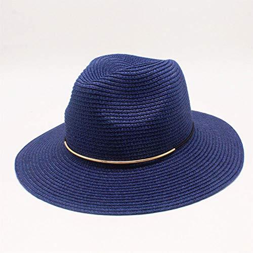 YDXC Sombrero de paja unisex para hombres y mujeres casual para vacaciones sombrero de playa sombrero plegable para verano se aplica a acampar, senderismo, actividades etc, azul marino, 55~62cm