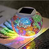 HDNICEZM Color Changing Solar Powered Glass Ball Led Garden Lights, Rechargeable Solar Table Lights, Outdoor Waterproof Solar Night Lights Table Lamps for Decorations, Ideal Gifts