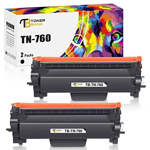 Toner Bank Compatible Toner Cartridge Replacement for Brother TN760 TN-760 TN 760 TN730 TN-730 730 for HL-L2395DW L2350DW MFC-L2710DW L2750DW DCP-L2550DW HL-L2390DW HL-L2370DW Printer (Black, 2-Pack)