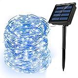 Ankway Cadena Luces Solares, 200 LED 8 Modos 72ft/22M Guirnalda Luces IP65 Impermeable para Interior/Exterior para Decoración del Jardín Fiesta, Azul
