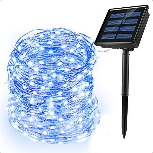 Ankway luci Stringa Solare, 200 LED 8 Modi Lunghezza 22M/72ft, Luci Energia Solare Impermeabili Interni e Esterni per Giardino Natale Matrimoni e Feste,Blu