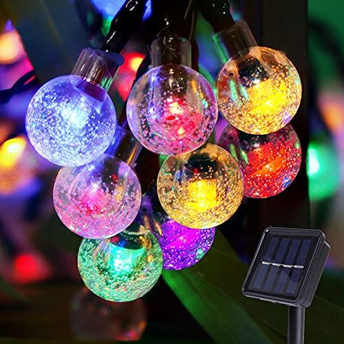 Guirnalda Luces Exterior Solares,Damtong 100 Leds 12M Bola Cristal Multicolor Cadena de Luces,8 Modos Impermeable Solar Luces,Para Decoración de Exteriores,Jardín,Terraza,Boda,Fiesta
